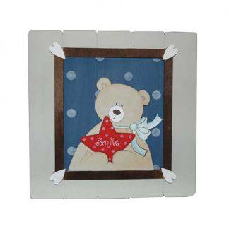 Cuadro de oso en tablilla de madera