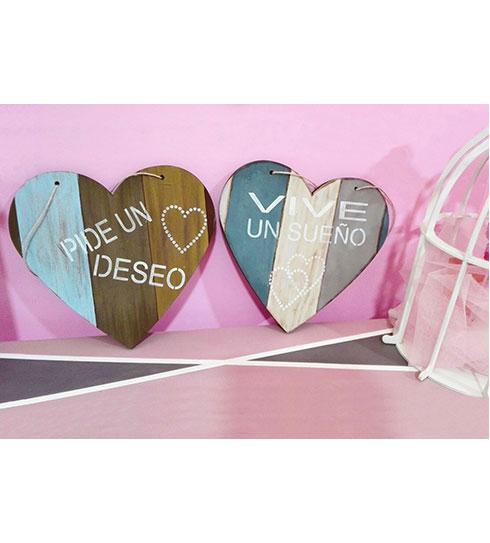 Pack corazones de madera