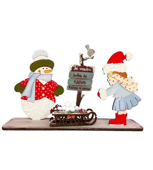 Decoración de navidad con muñeco de nieve