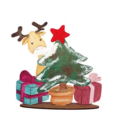 Decoración reno de Navidad con regalos