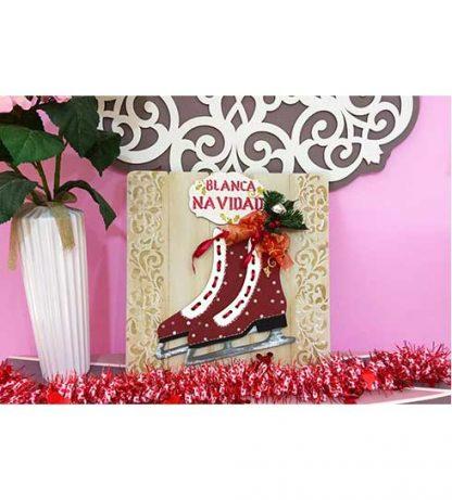 Cuadro de Navidad con patines