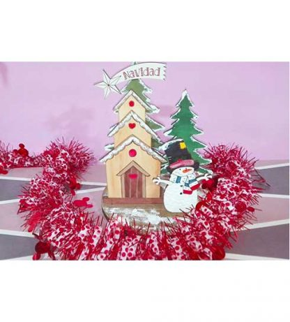 Decoración navideña con muñeco de nieve