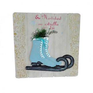 Cuadro de Navidad con patines azules