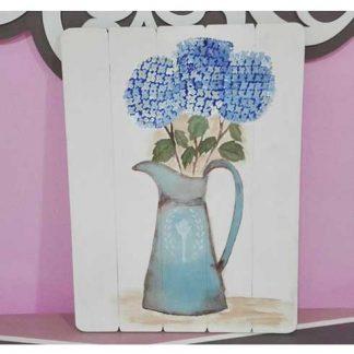Cuadro de jarra con hortensias