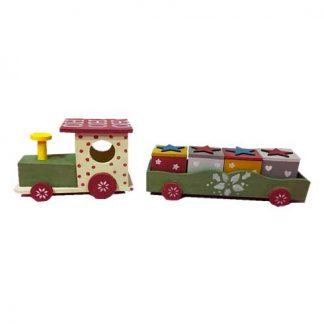 Tren de madera navideño