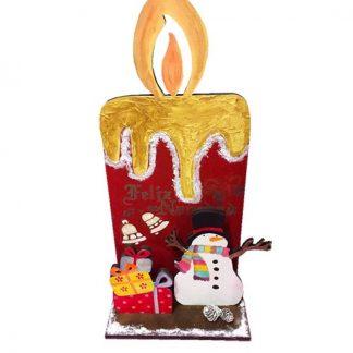 Vela y muñeco de nieve 'Feliz Navidad'