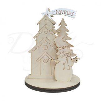 Peana muñeco con casita de Navidad