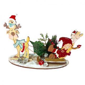 Decoración navideña con reno y duende