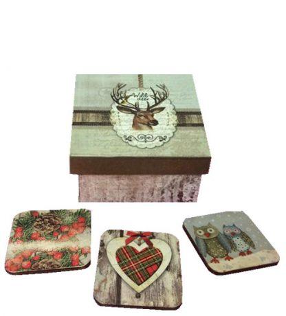 Caja de reno con posavasos de madera