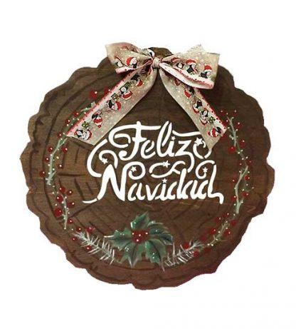 Corona de madera 'Feliz Navidad'