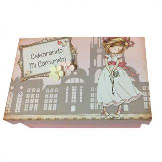 Caja rosa de madera comunión