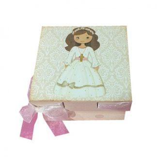 Caja de madera de comunión para niña