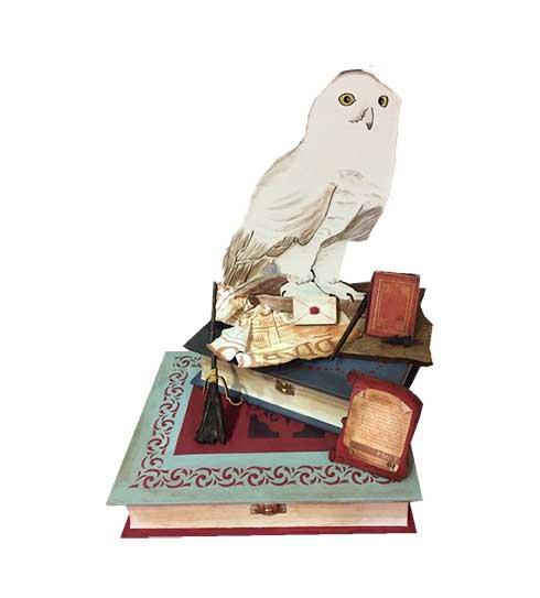 Hedwig con libros Harry Potter