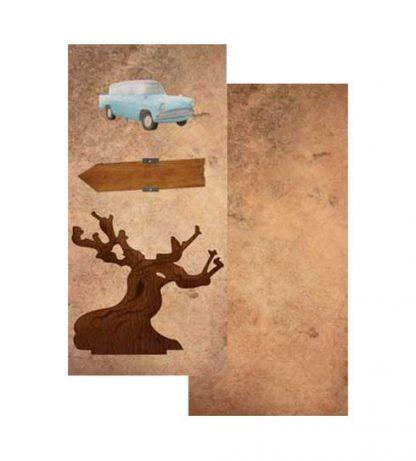 Papel coche y árbol Harry Potter
