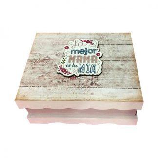 """Caja de madera """"La mejor mamá es la mía"""""""