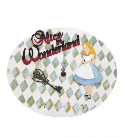 Percha de madera Alice in Wonderland