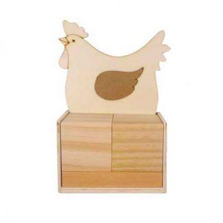 Calendario de madera para decorar con gallina